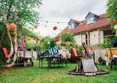 home garden set up for a socially distanced wedding reception