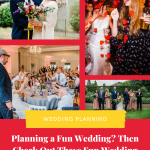 Collage of 4 fun wedding photos showing candid wedding moments by fun wedding photographer parrot and pineapple. Text reads Planning a fun wedding? Check out these fun wedding photos for inspiration
